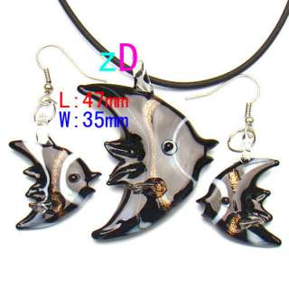 Love Murano Lampwork Glass Heart Pendant Necklace Earrings Set