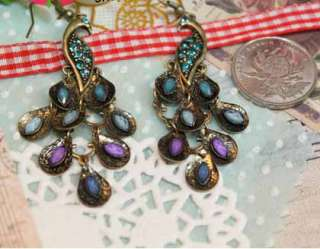 Vintage Elegant Multicolor Gemstone Rhinestone Peacock Dangle Earrings