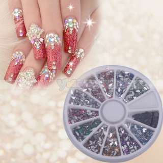 2mm Nail Art Rhinestones 12 colors Glitters Tips Manicure Deco Wheel