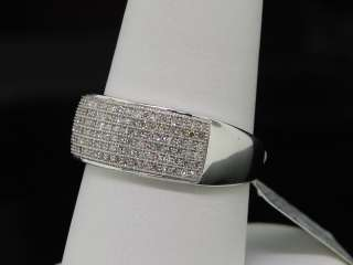 MENS 10K WHITE GOLD .50CT PAVE DIAMOND WEDDING BAND 8MM