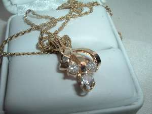 VINTAGE ESTATE 14K GOLD 3 DIAMOND PENDANT NECKLACE