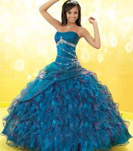 Blue Strapless Quinceanera Prom ball gowns Wedding dress Custom 4 6 8