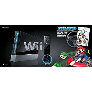 Wii Console with Mario Kart   Black  Nintendo Movies Music & Gaming