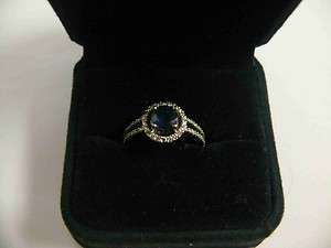 Genuine Real Sapphire & Diamond Engagement Ring & Wedding Band size 6