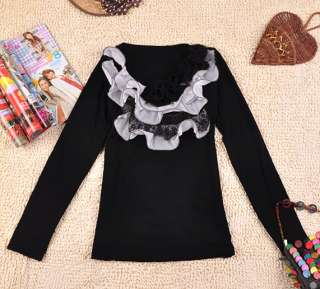 fashion COTTON chiffon floral long top /t shirt s10600 2colo