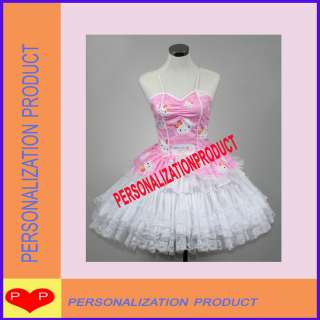 Gothic Lolita pink Cosplay Hello Kitty Pattern 7 Ballroom Corset dress