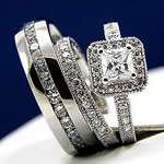 3pcs HIS and HERS Engagement Mens and Womens Wedding Bridal Band Ring