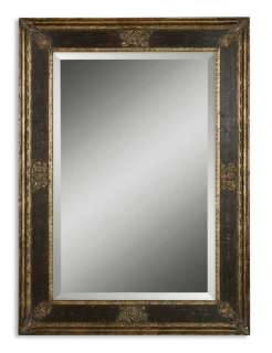Rectangular Wall Mirror Antique Black Gold