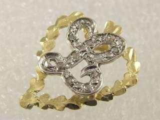WHITE GOLD LADIES HEART DIAMOND L NAME INITIAL CHARM PENDANT