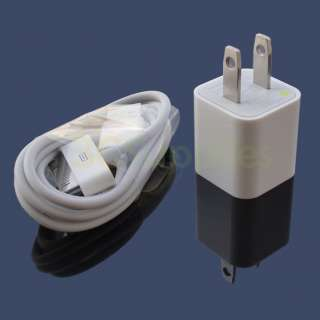 AC Wall Charger and USB Data Sync Cable for iPhone iPod