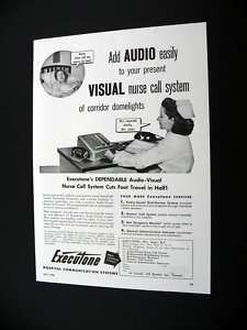 Executone Audio Visual Nurse Call System 1956 print Ad