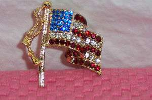 Vtg Brooch American Flag Patriotic Rhinestone Jewelry