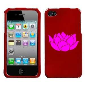 APPLE IPHONE 4 4G PINK LOTUS ON A RED HARD CASE COVER