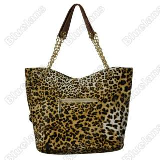 PU Leather Leopard Print Handbag Tote Bag Chain Handles + Purse
