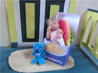Ooak Mini Baby Girl Polymer Clay Sculpt Art Doll House QT 1 3/4