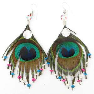 PEACOCK BIRD NATURAL REAL FEATHER EARRINGS HANDCRAFTED
