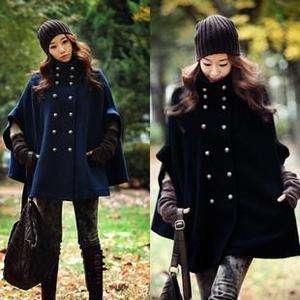 Winter Sexy Vintage Style Navy Blue Cape Jacket Coat