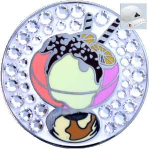 Bella Swarovski Crystal Golf Ball Marker & Hat Clip   Ice Cream Sundae