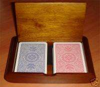 Poker Playing Card Wooden Box Case   holds bridge or poker size. copag
