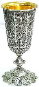Sterling Silver&Gold Jewish Shabbat Shabbes Filigree Kiddush Cup