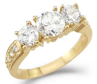 14k Yellow Gold 3 Three Stone Engagement CZ Ring 1.50ct