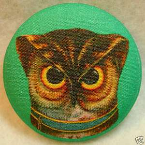 Wise Owl Face Fabric Covered Button 1 & 1/2 inch
