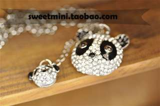 One pcs Cute Rhinestone Panda Animal Pendant Fashion Necklace Free