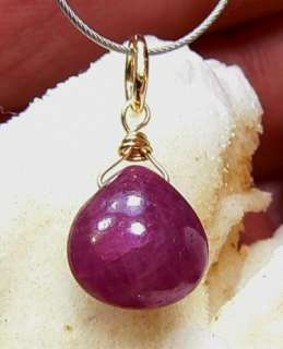 NATURAL UNTREATED BURMESE RUBY HEART BRIOLETTE 14K GOLD PENDANT