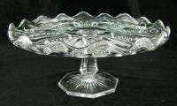 Vintage Pressed Clear Glass Pedestal Cake Dish Stand Tray