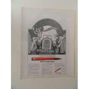 Parker Pen, print ad (woman/man/changing tire.) Orinigal Magazine
