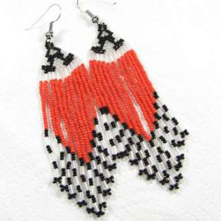 RED CORAL BLACK WHITE SEED BEADED EARRINGS WHOLESALE