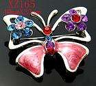 New Butterfly Rhinestone Crystal &Enamel Brooch XZ179