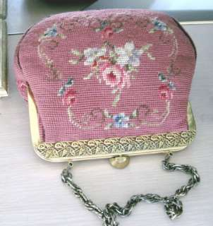 Deep PINK w PINK ROSES 1940s GORGEOUS Vintage NEEDLEPOINT PURSE