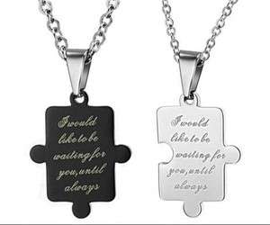 JN68 Stainless Steel Sweet Love Puzzle Couple Necklace