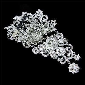 91 Wedding Flower Hair Comb Tiara Swarovski Crystal