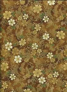 IMPERIAL ASIAN SM FLOR BROWN GOLD~ Cotton Quilt Fabric