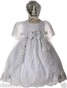 New Infant Baby Toddler Girl White Christening Baptism Dress Gown