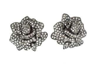Kenneth Jay Lane KJL Gunmetal Rose Flower Earrings