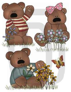 TEDDY BEAR BUTTERFLY BABY NURSERY WALL STICKERS DECALS