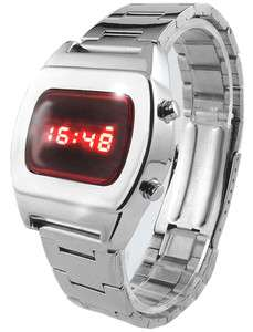 BRAND NEW LED WATCH 70s UNISEX SS STYLE CHROME RETRO RED FACE SILVER