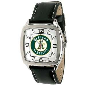 Oakland Athletics Mens Retro Style Watch Leather Band