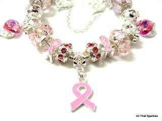Breast Cancer Awareness Pink Ribbon Charm Bracelet