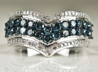 Sterling 1.50ct Genuine Old Cut Micro Pave Blue Diamond Ring 4g