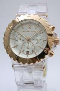 Michael Kors Women Oversize Rose Gold Chrono Clear Bracelet Watch 48mm