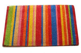 Tan Beige Multicolored Stripes Coir Outdoor Welcome Mat