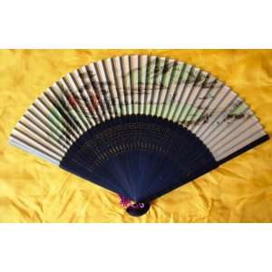 Chinese Painting Silk Bamboo Art Fan Landscape Everything
