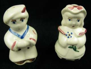Pair Vintage Boy Girl Ceramic Salt and Pepper Shakers