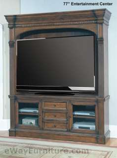 77 Entertainment Center Furniture Media TV Stand Console Rustic Brown