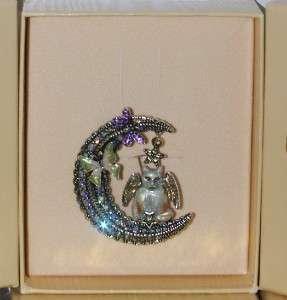 Kirks Folly Luna Kitty Cat Angel Crescent Moon Pin Brooch Silvertone
