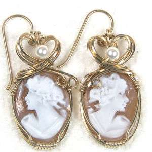 Hand Carved Shell Cameo Earrings 14K Rolled Gold